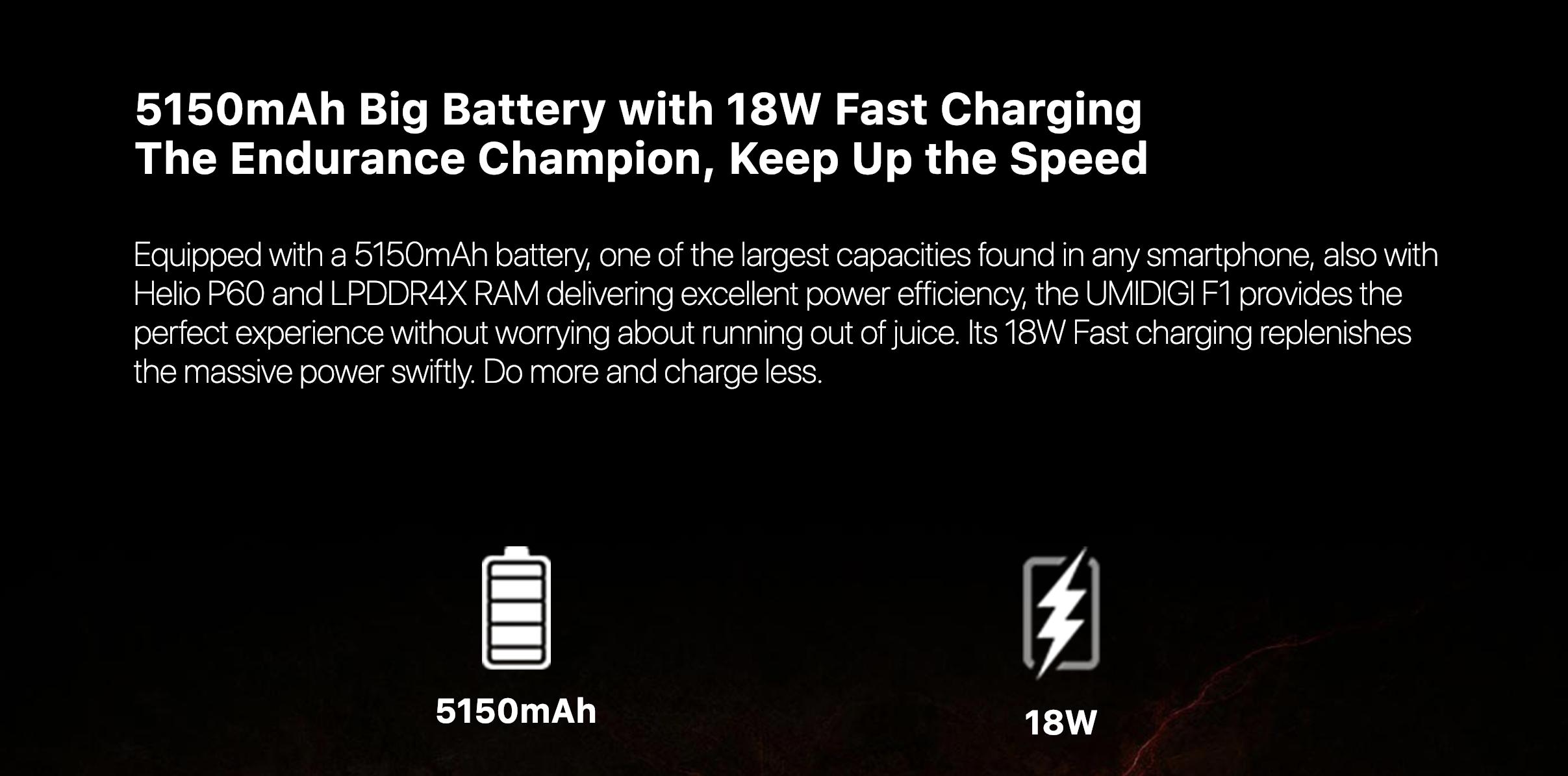 UMIDIGI F1のバッテリー