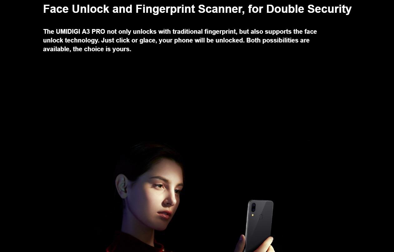 UMIDIGI A3 Proの生体認証