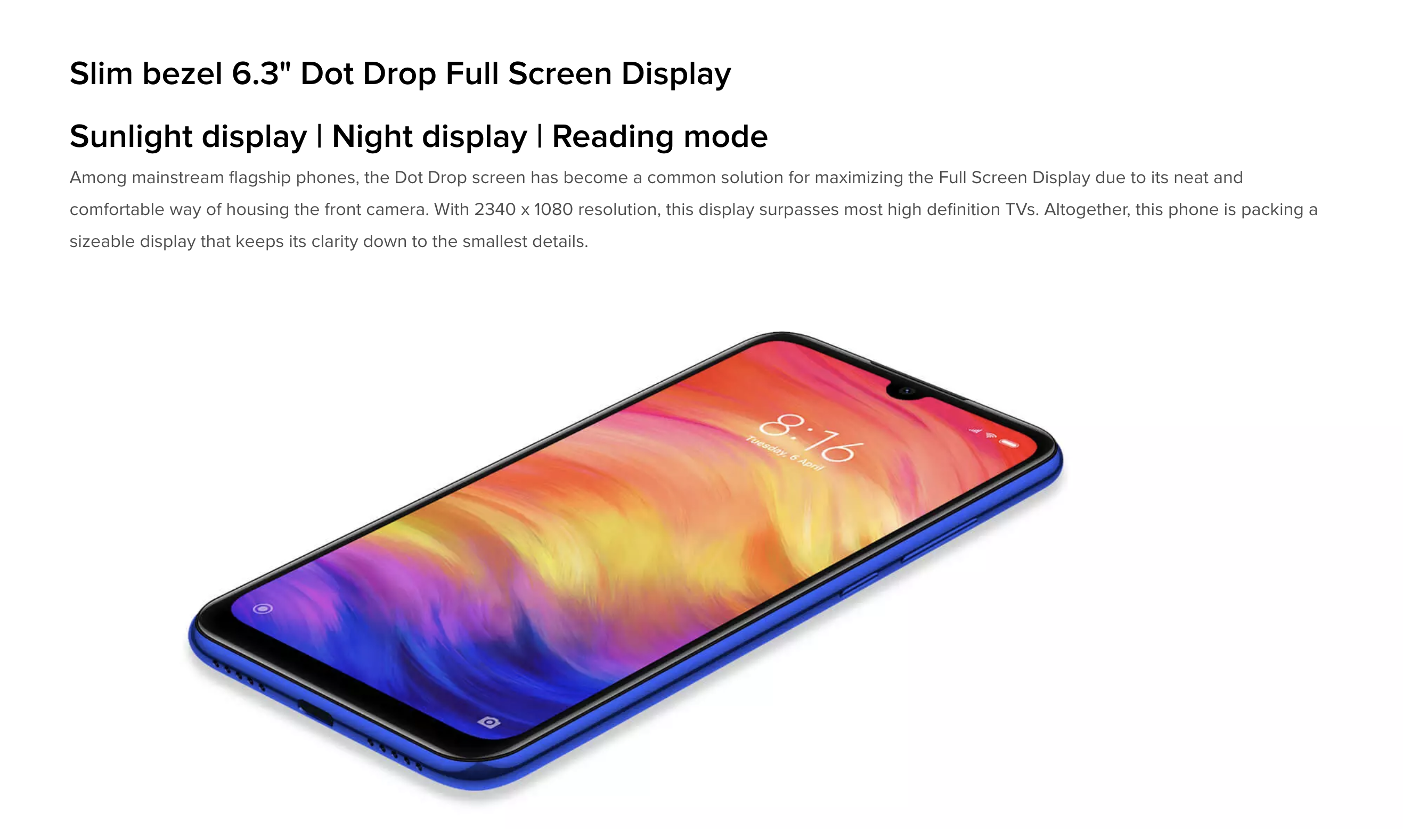 Xiaomi Redmi Note 7のディスプレイ