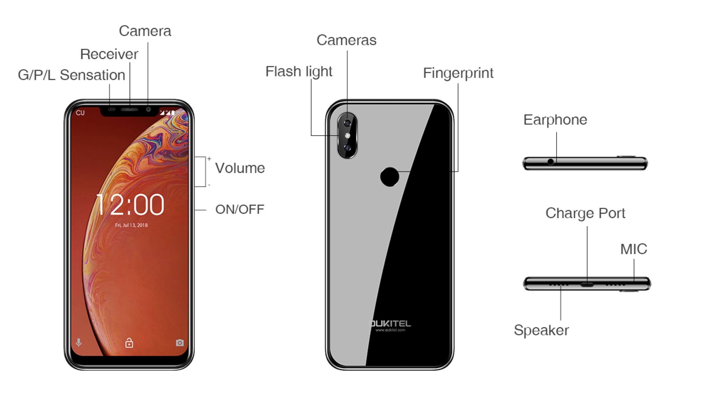OUKITEL C13 Proのデザイン