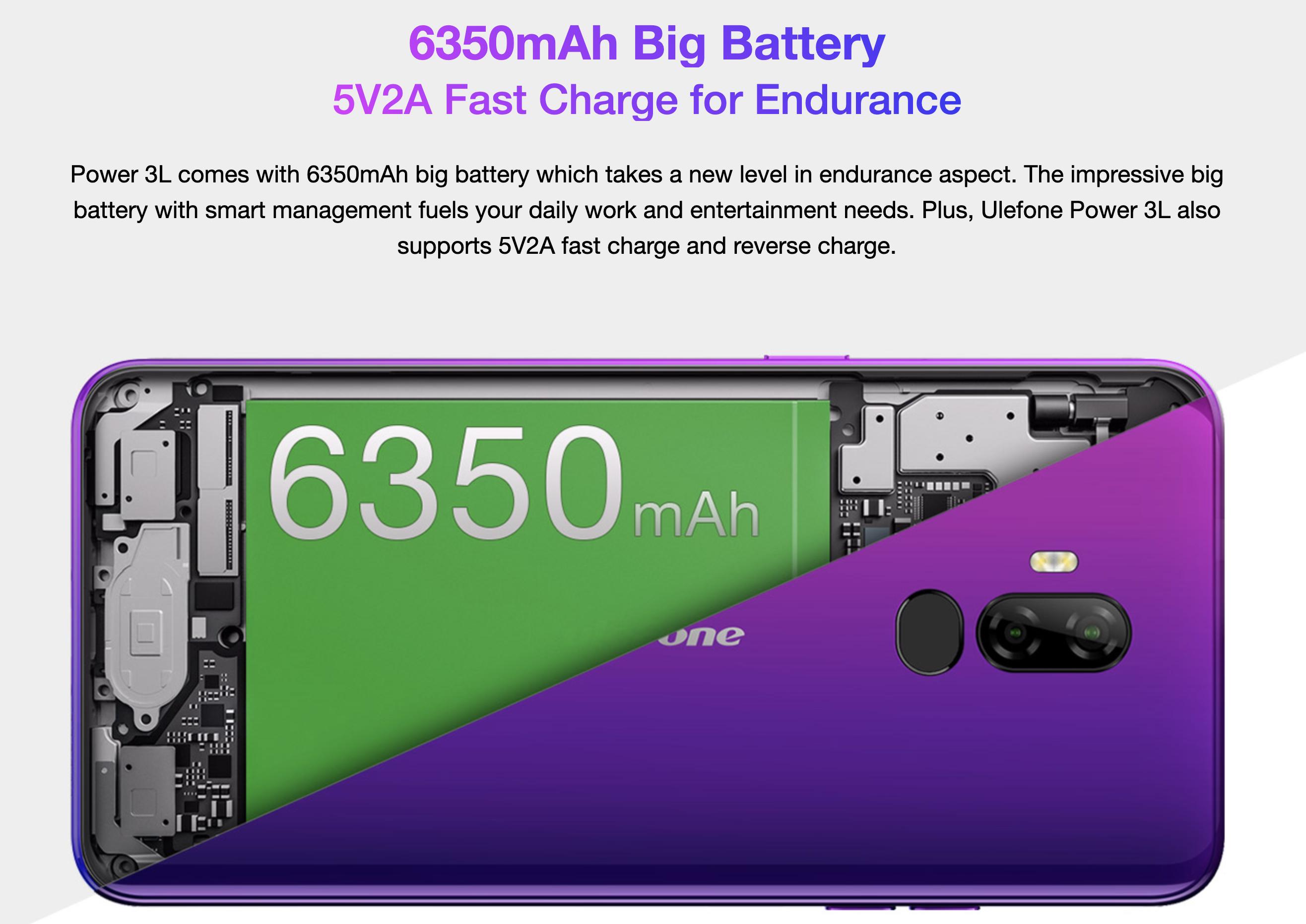6350mAhの大容量バッテリー