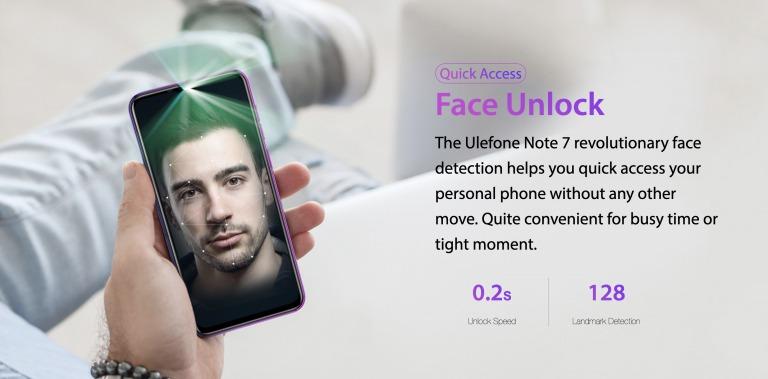 Ulefone Note 7の顔認証