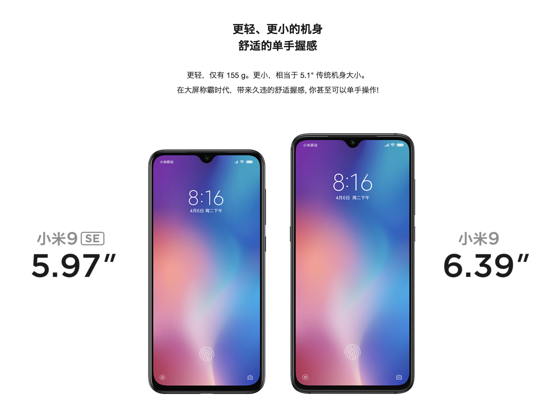 Xiaomi Mi 9 SEのサイズ