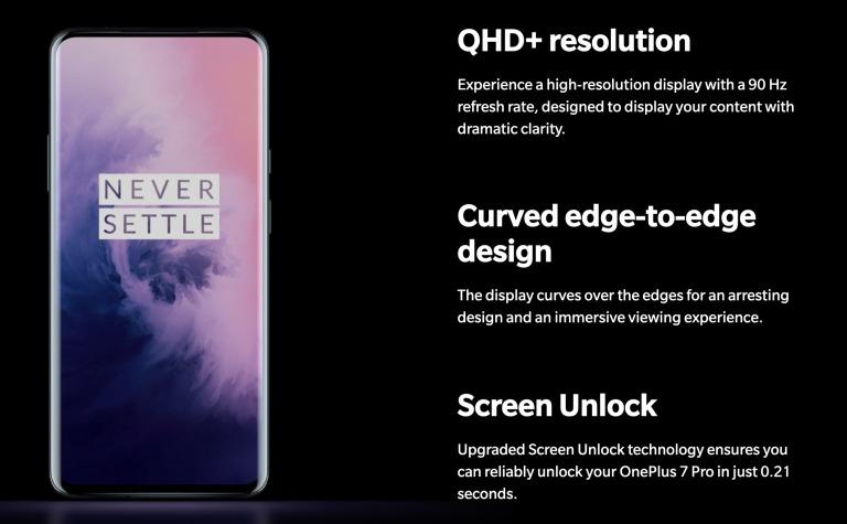 OnePlus 7 Proのディスプレイ