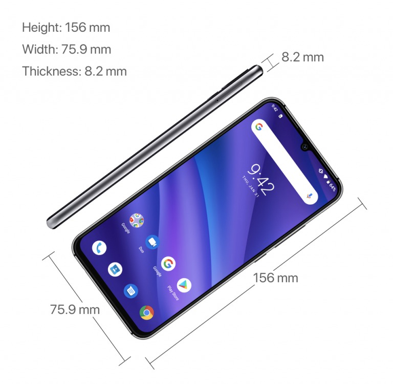 UMIDIGI A5 Proのサイズ