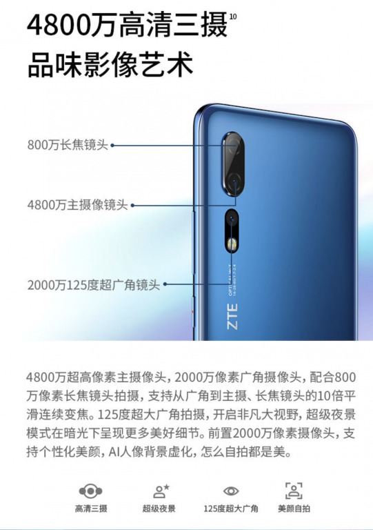 ZTE Axon 10 Proのカメラ