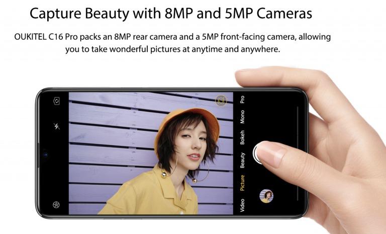 OUKITEL C16 Proのカメラ