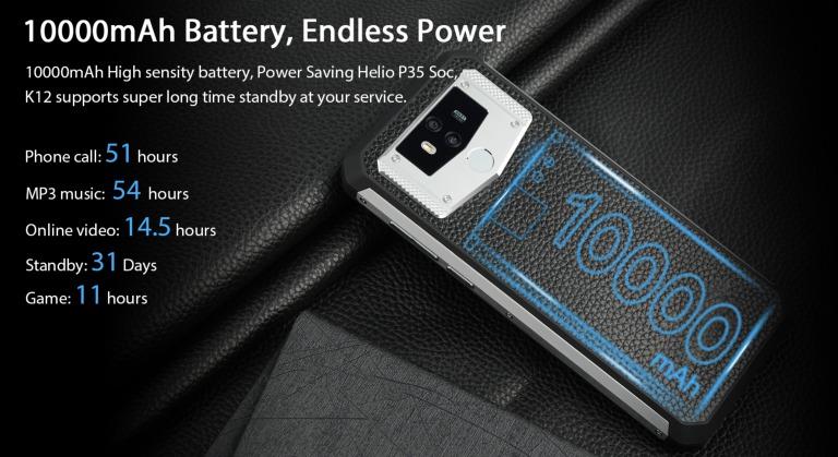 OUKITEL K12のバッテリー