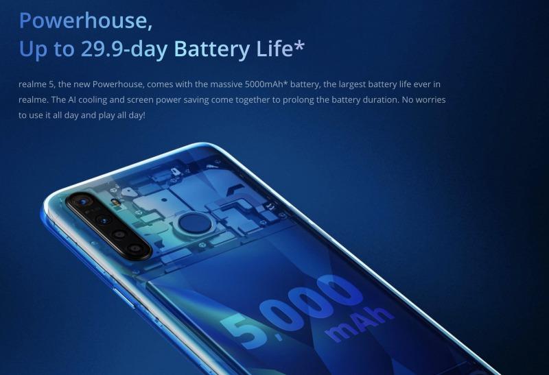Realme 5のバッテリー