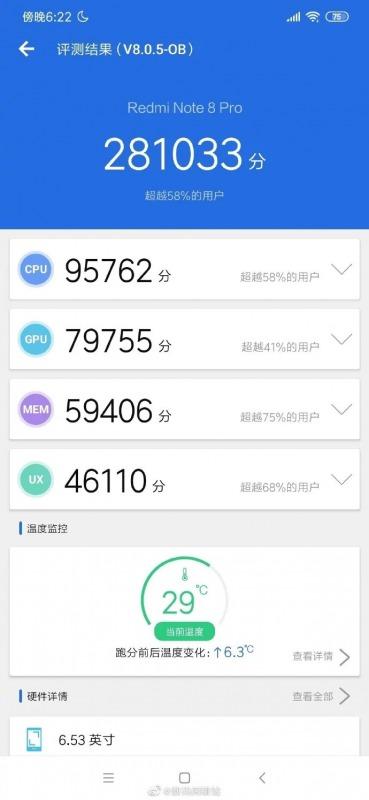 Redmi Note 8 ProのAntutu