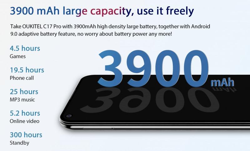 OUKITEL C17 Proのバッテリー
