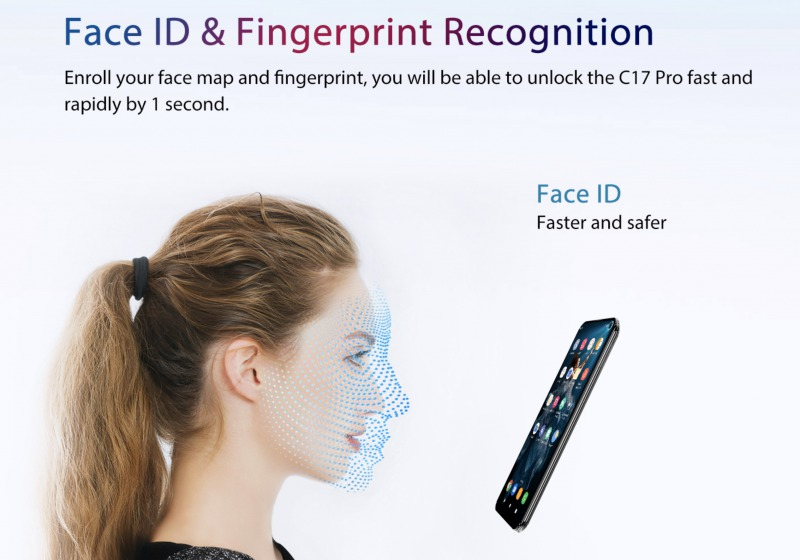 OUKITEL C17 Proの顔認証