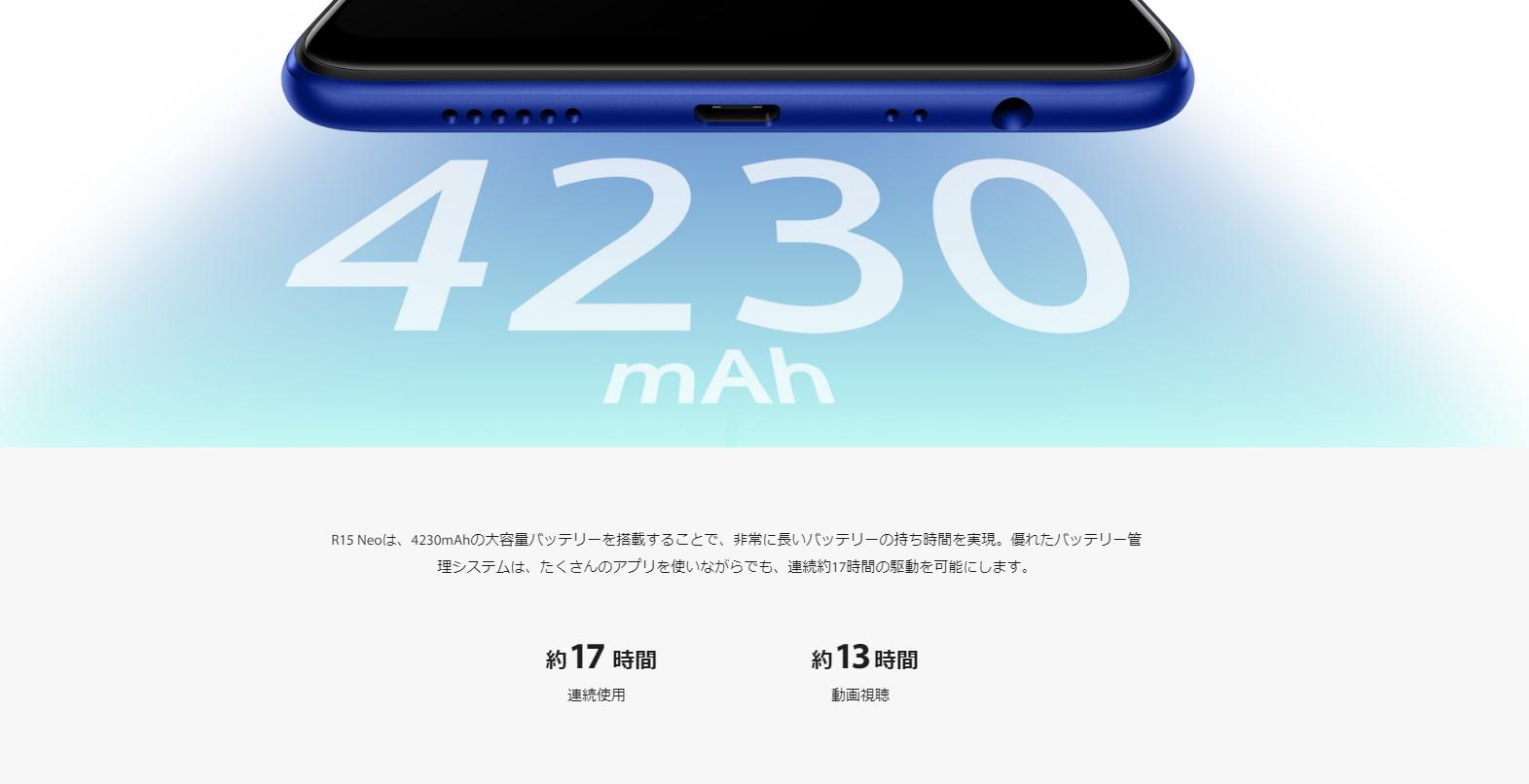 R15Neoのバッテリー容量