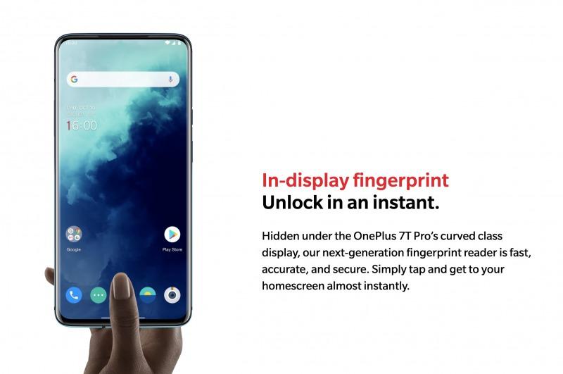 OnePlus 7T Proのディスプレイ指紋認証