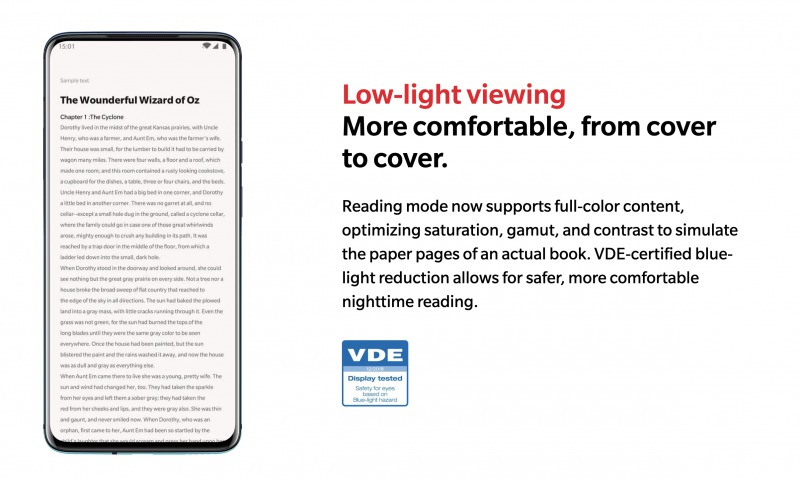 OnePlus 7T Proの低光量表示