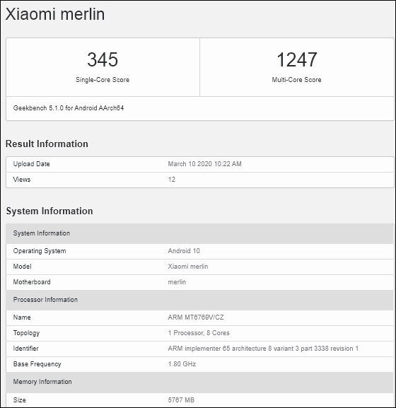 Redmi Note 9のGeekBench
