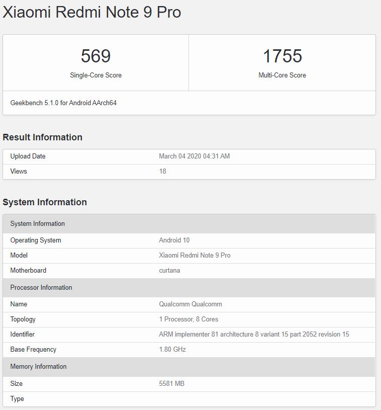 Redmi Note 9 ProのGeekBenchスコア