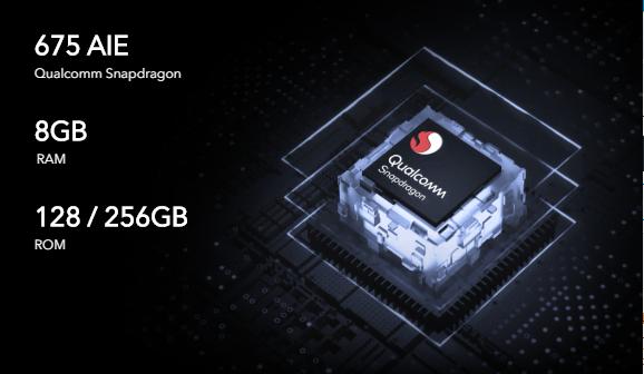 Snapdragon 675および8GB + 128 / 256GB搭載