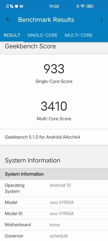 iQOO 3 5GのGeekbench5のスコア