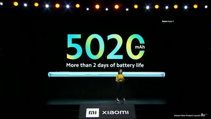 Redmi Note 9のバッテリー容量(5020mAh)