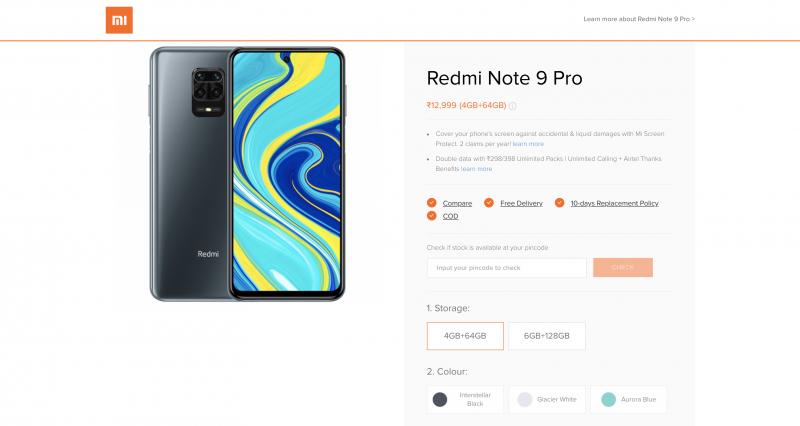 https://store.mi.com/in/buy/product/redmi-note-9-proからのRedmi note 9 proの価格