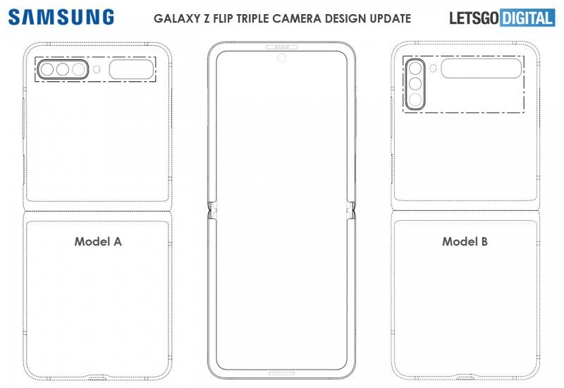Galaxy Z Flip 2と思われる端末のデザイン図