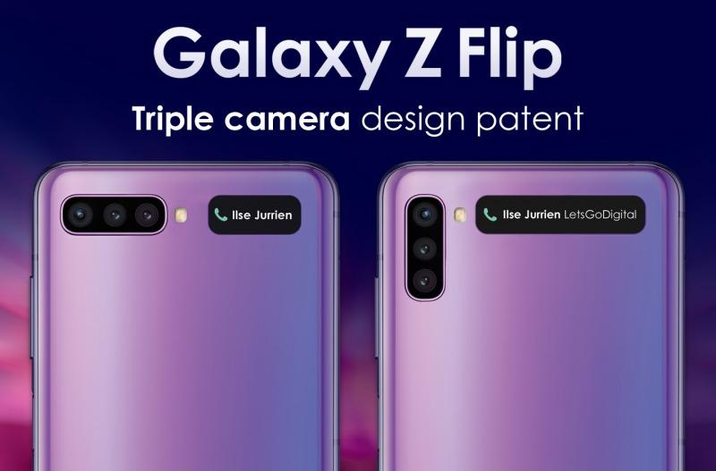 Galaxy Z Flipの特許画像(3眼カメラとサブディスプレイ)