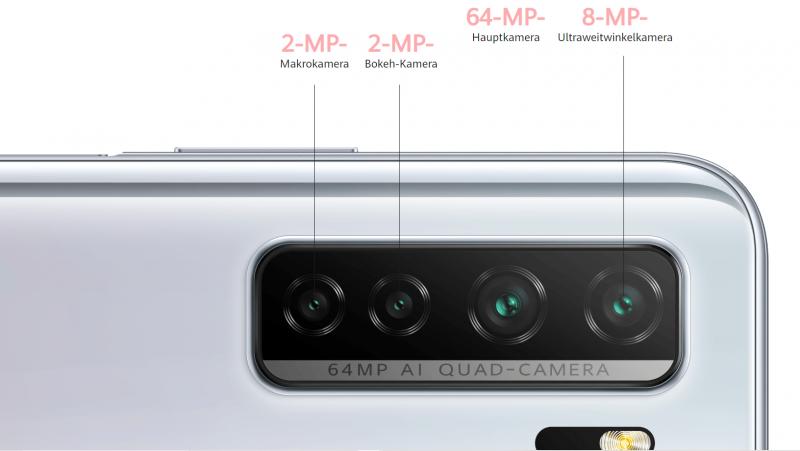 64MPを含むクアッドカメラ搭載