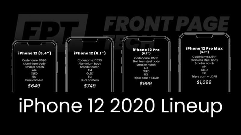 iPhone 12とされる4モデル