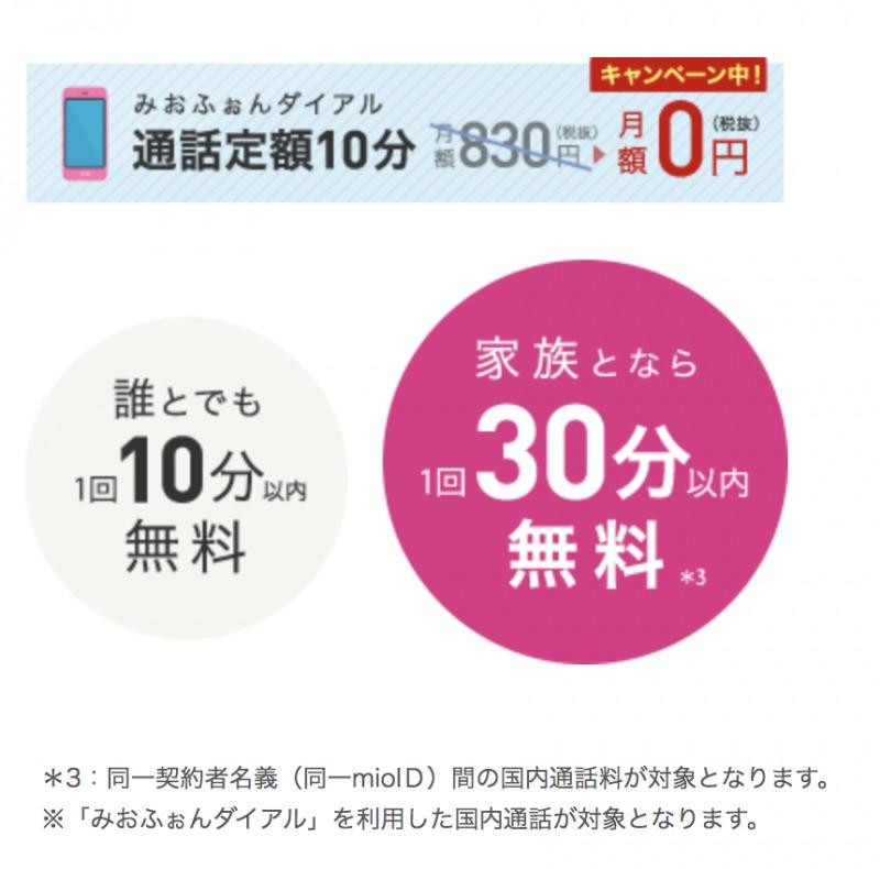 IIJmio 10分通話定額オプション 7ヵ月間0円キャンペーン2