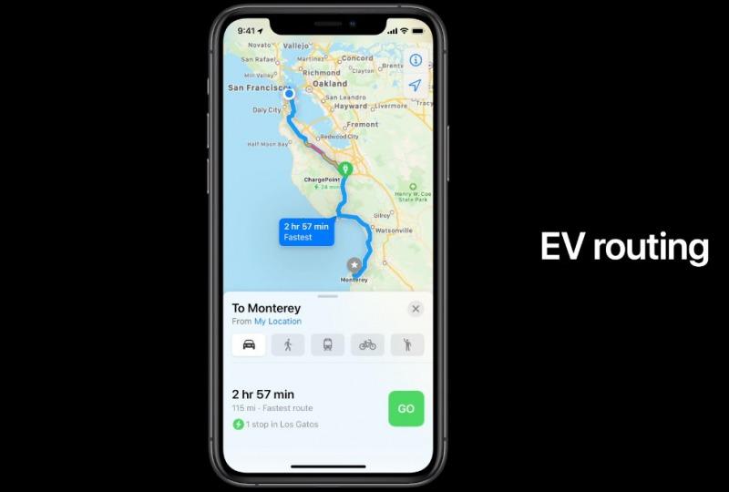 iOS 14 Appleマップのアップデート 電気自動車
