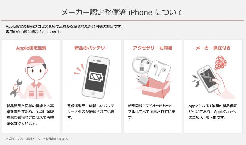 OCNモバイルONE メーカー認定整備済 iPhone について