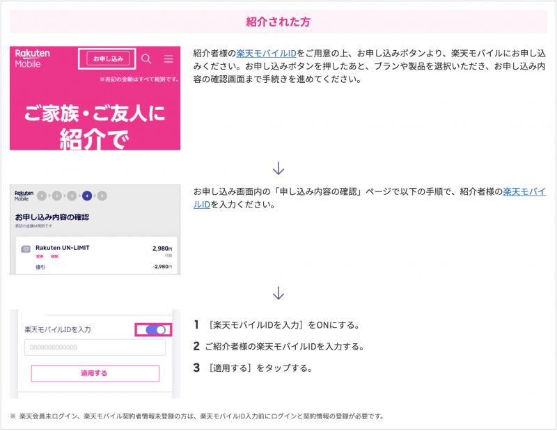 楽天モバイル 紹介キャンペーン 手続き