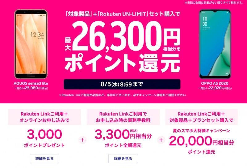 Rakuten UN-LIMIT提供キャンペーン 最大26,300円相当分をポイント還元