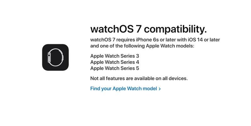 watchOS 7 サポート一覧