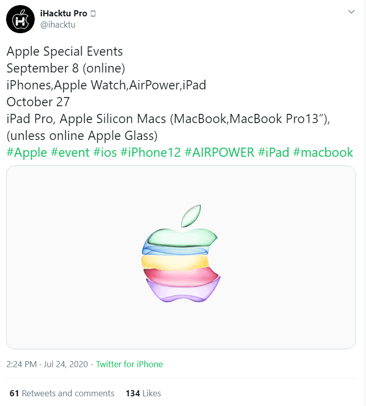 iPhone 12発表イベント 日程