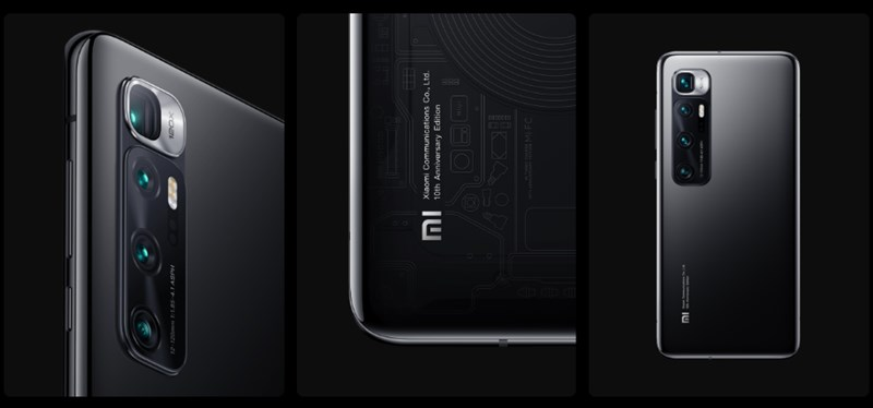 Xiaomi Mi 10 Ultraの透明版の画像、背面が透けている