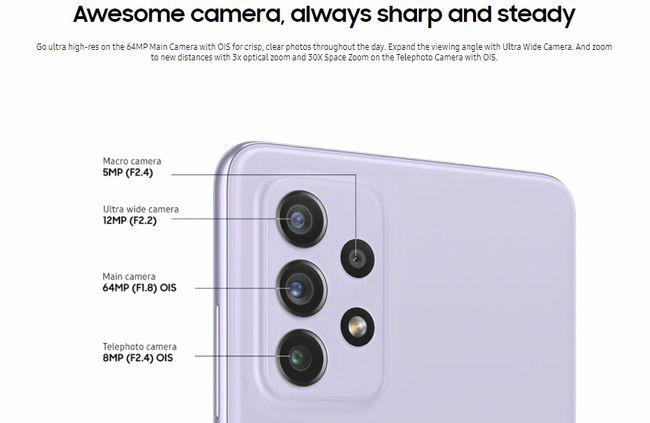 光学3倍ズームを含めたクアッドカメラ