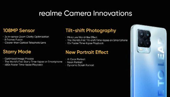 Realme 8 Proの画像とあわせて紹介された108MPカメラユニット