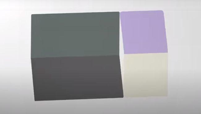 浮かび上がったタイルが色付き、斜めに回転するとフォルダブルスマートフォンの形状に